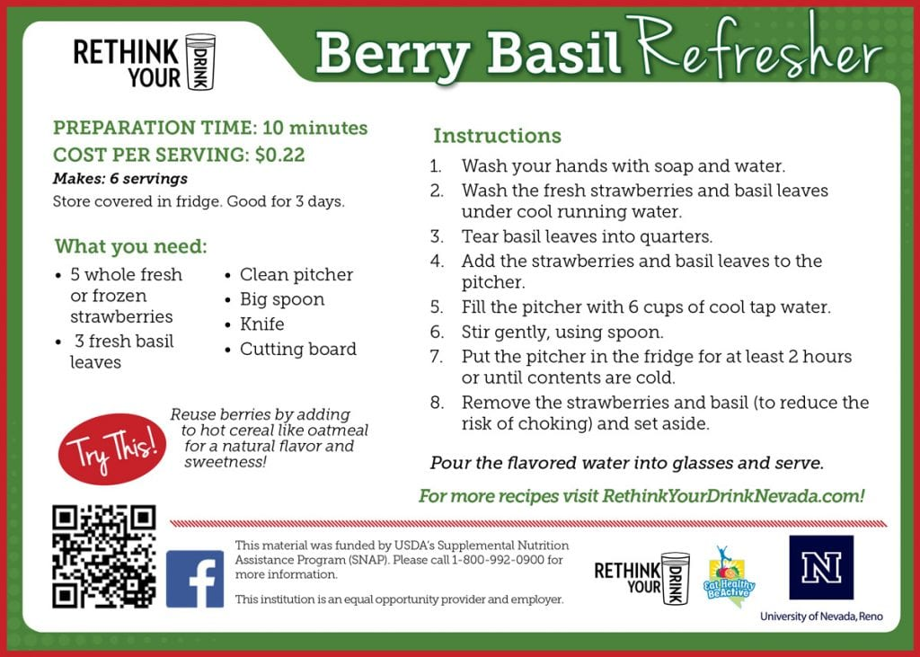 berry basil refresher recipe card