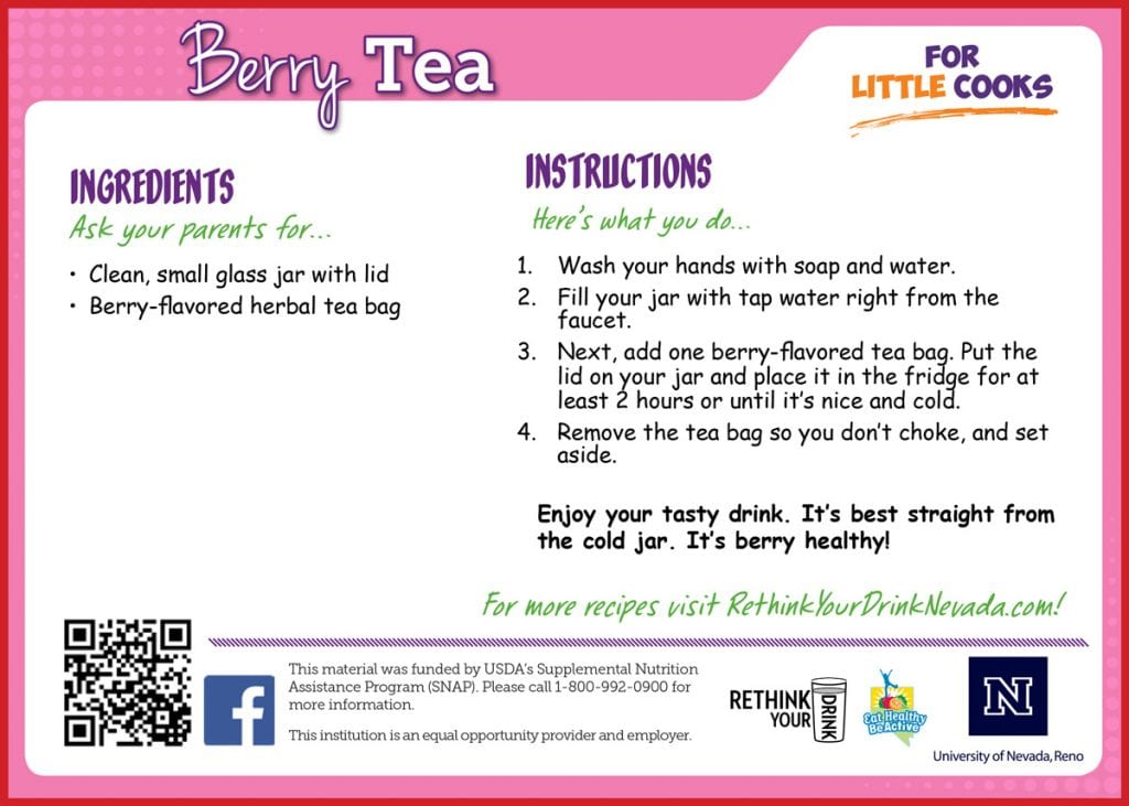 berry tea recipe card