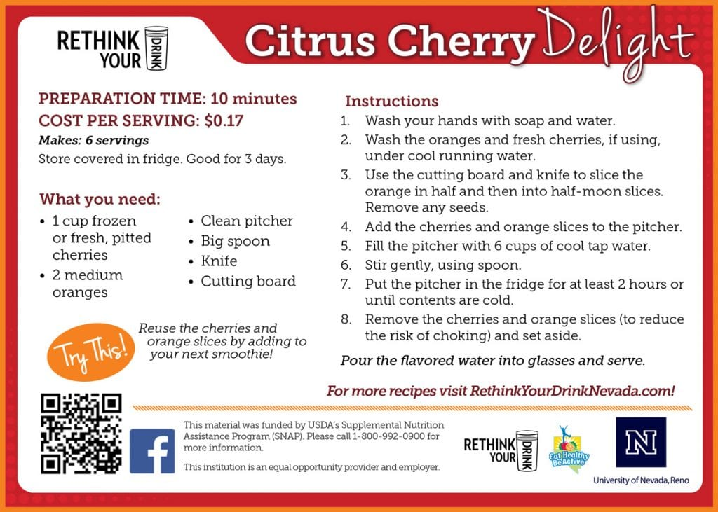 citrus cherry delight recipe card