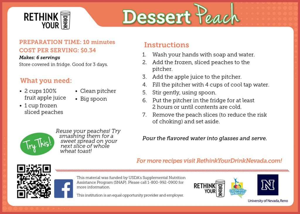 dessert peach recipe card