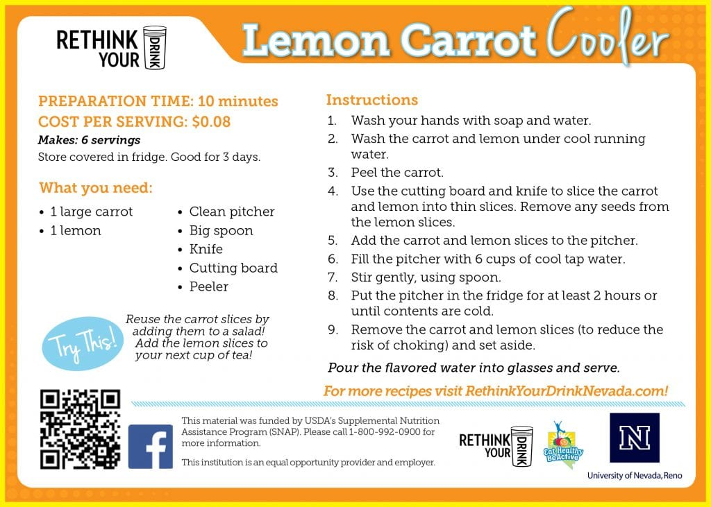 lemon carrot cooler recipe card