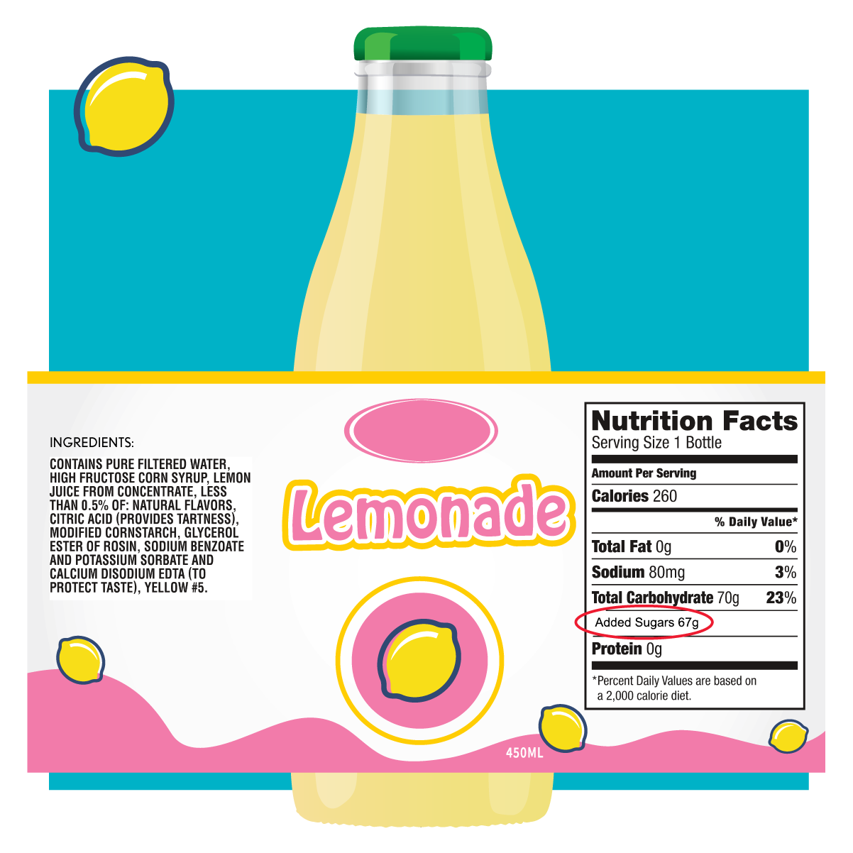 lemonade bottle with label