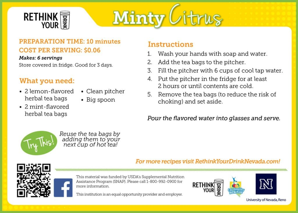 minty citrus recipe card
