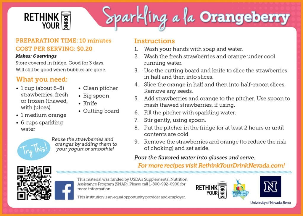 sparkling a la orangeberry recipe card