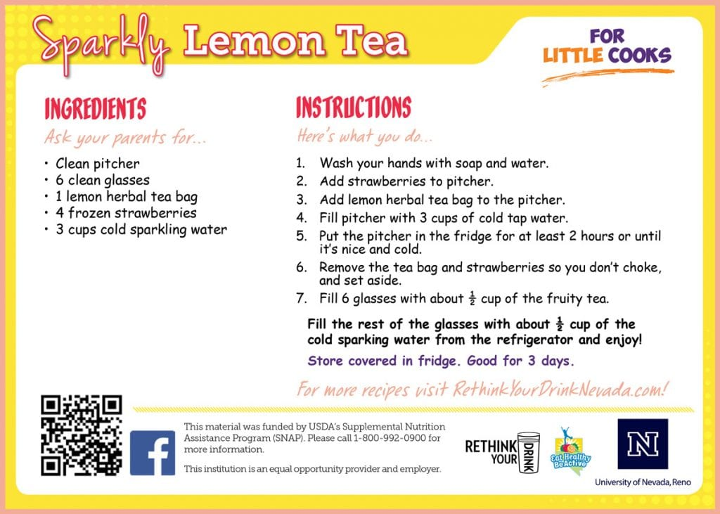 sparkly lemon tea recipe card