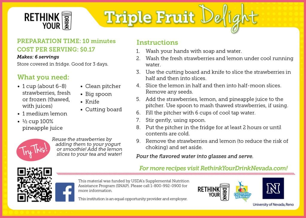 triple fruit delight recipe card