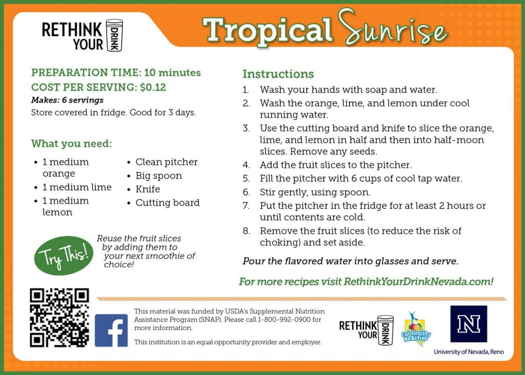 tropical sunrise recipe card