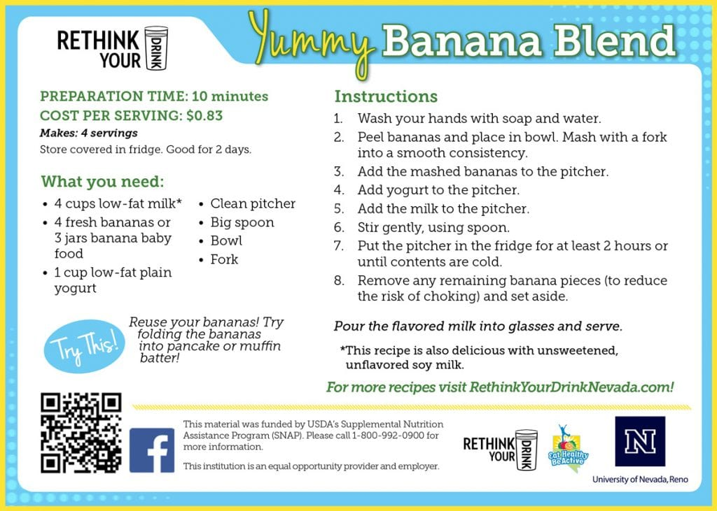 yummy banana blend recipe card