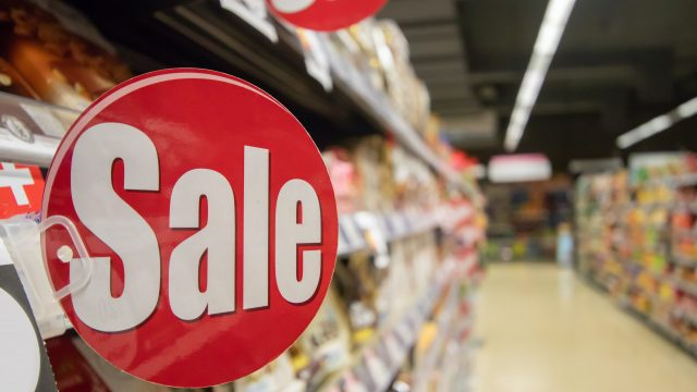 Sale sign in grocery store